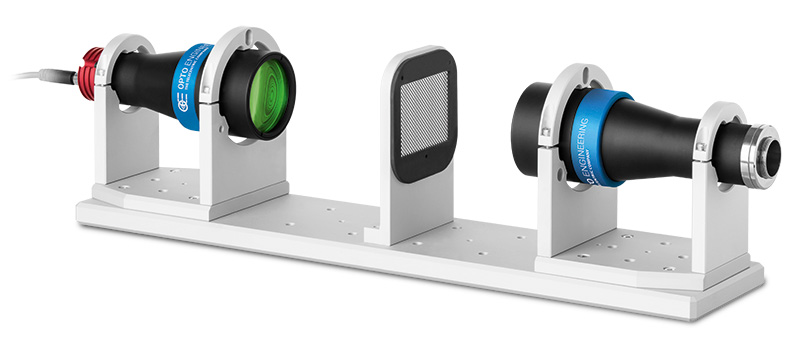 Telecentric optical benches for precision measurements